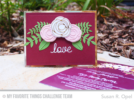 Love Wedding Card by Susan R. Opel featuring the LIsa Johnson Designs Scribble Roses and Scribble Roses Overlay Die-namics, and the Love & Adore You and WIld Greenery Die-namics #mftstamps