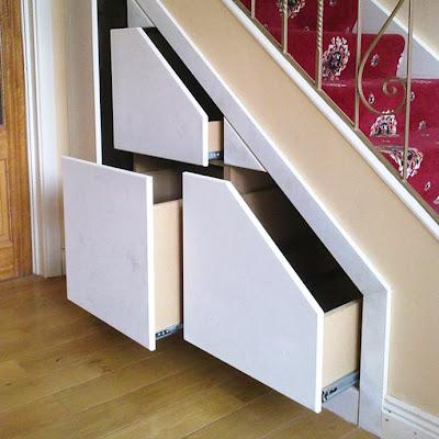 memanfaatkan tangga rumah sebagai lemari (plus contoh