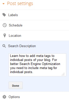 Add meta tags to individul post of your blog
