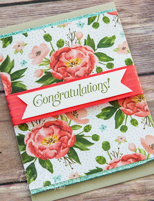 Make in a Moment Congratulations Cards made with the gorgeous Birthday Bouquet Papers from Stampin' Up! UK.  Get the details here