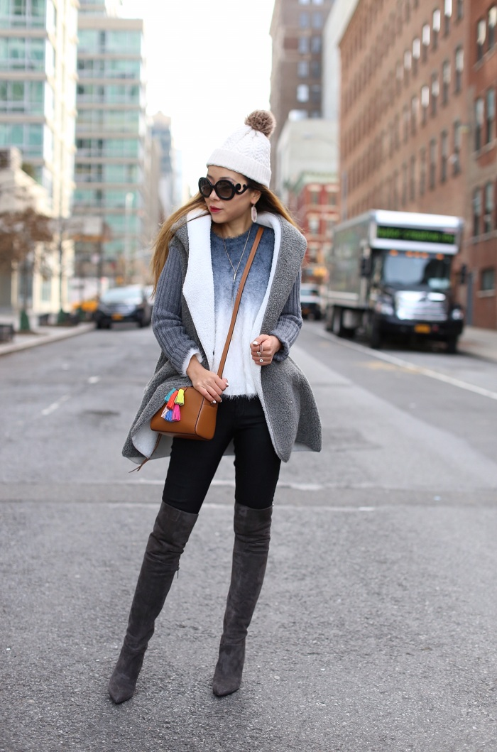 Shall We Sasa Rebecca Minkoff Mini Sofia crossbody bag, steve madden gorgeous over the knee boots, she in grey sweater jacket, she in ombre sweater, prada sunglasses, jcrew pom pom beanie, Kendra scott SHELTON NECKLACE IN ROSE GOLD, Kendra Scott DANIELLE EARRINGS IN ROSE QUARTZ, kendra scott LUCIA RING SET IN CORAL KYOCERA OPAL, kendra scott spring 2016 collection, nyc street style, winter outfit ideas