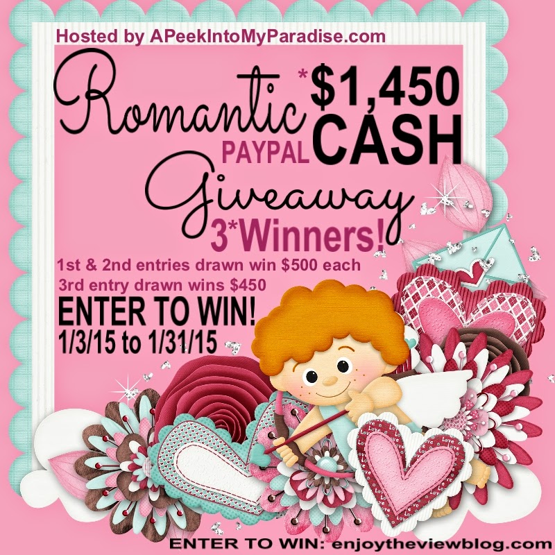 Romantic Cash Giveaway! Two $500 winners, One $450 winner! Enter now through 1/31/15!