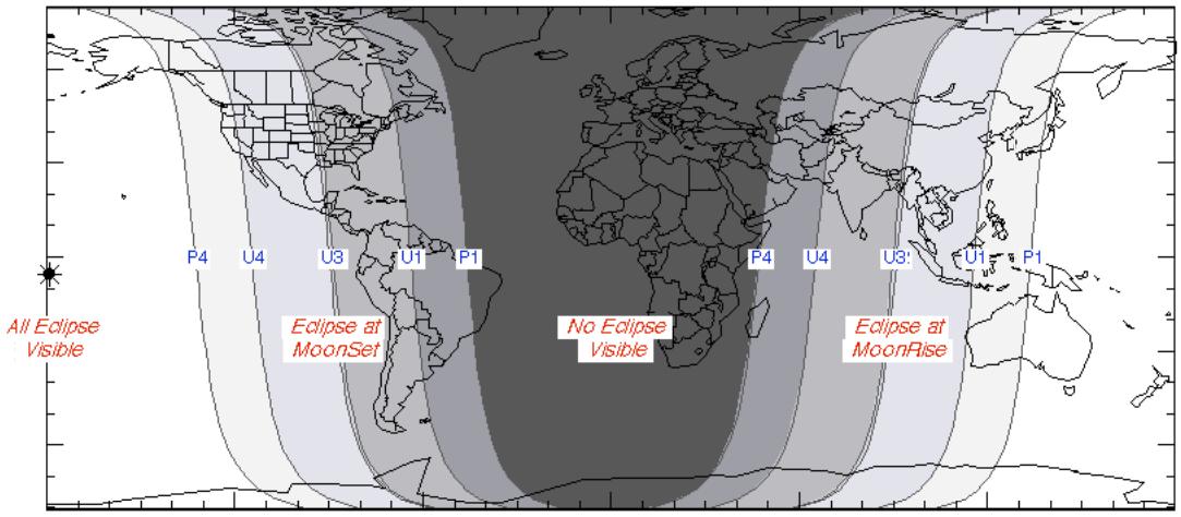 Ngày và đêm vào lúc xảy ra nguyệt thực ngày 4/4/2015. Việt Nam sẽ quan sát được lúc trăng mọc. Đồ họa : NASA.
