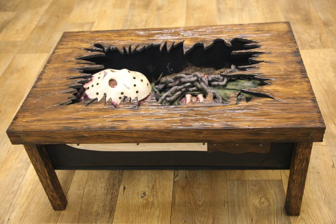 custom friday the 13th coffee table imprisons jason. Black Bedroom Furniture Sets. Home Design Ideas
