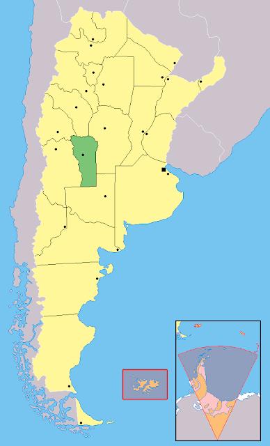 Mapa de localização da província de San Luis - Argentina