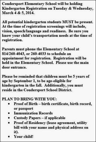 3-5 Coudersport Elemetary School Registration