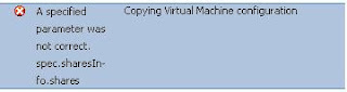 A specified parameter was not correct VMware vMotion