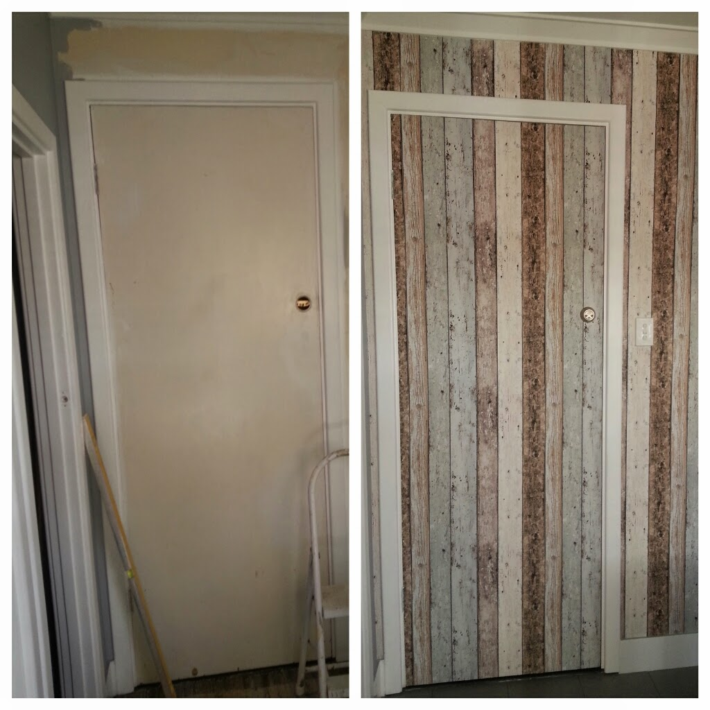 We cleaned the door and the wall with sugar soap and filled any bumps and dents with filler as best we could. Itu0027s important to have clean and well prepped ... & Jarrah Jungle: Laundry Renovation - How To Wallpaper A Door And Wall