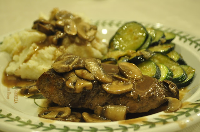 Cast Iron Steaks with Mushroom Sauce, Mashed Potatoes, and Sauteed ...