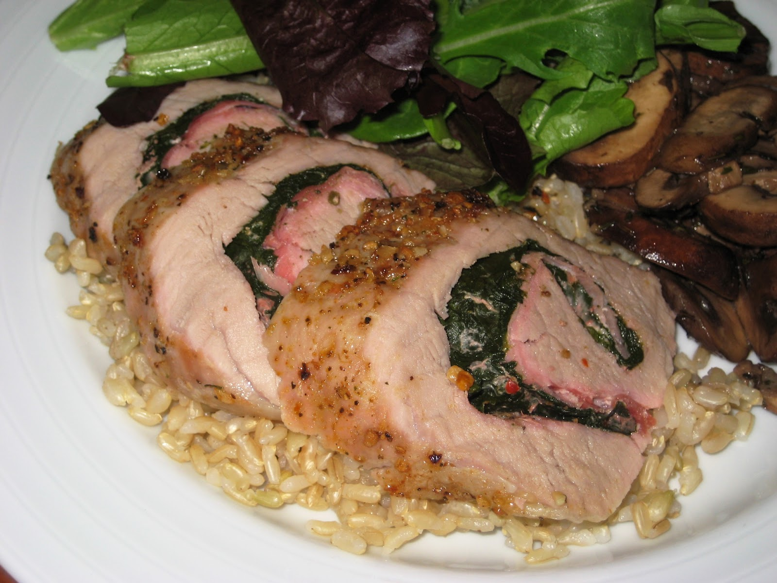 pork loin stuffed with spinach and mozzarella