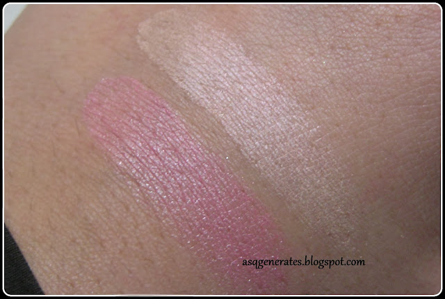 The Body Shop -Baked To Last Blush Blush- in 'Petal' swatches on skin