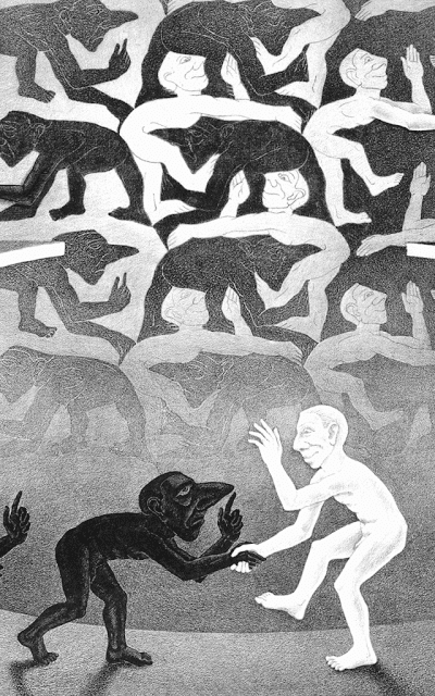 Detail from: The Encounter by M.C. Escher (1944)