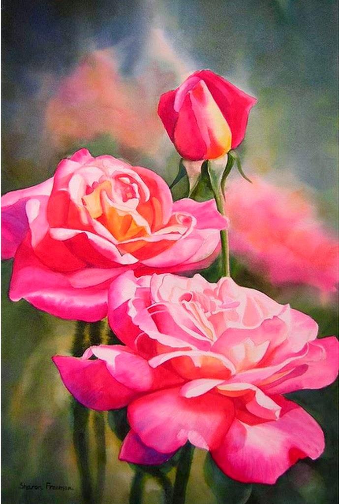 pinturas-en-acuarela-de-rosas