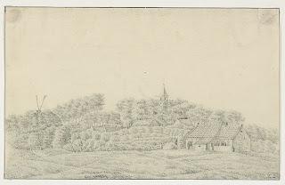 Het dorp Sint Laurens, met links de molen waar de moord op Maatje Kodde plaatsvond. Zeeuws Archief, ZI-II-0960 (1830-1840)