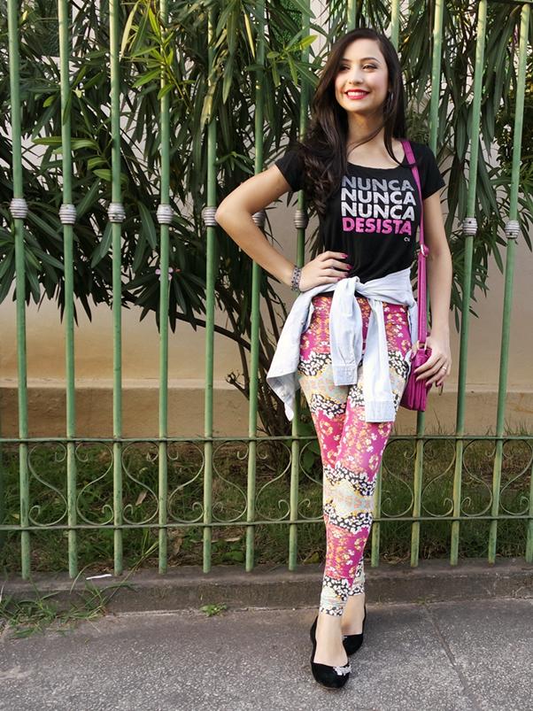 Look do Dia: Confortável e Colorido legging sapatilha