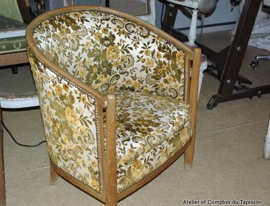atelier et comptoir du tapissier fauteuil tonneau. Black Bedroom Furniture Sets. Home Design Ideas