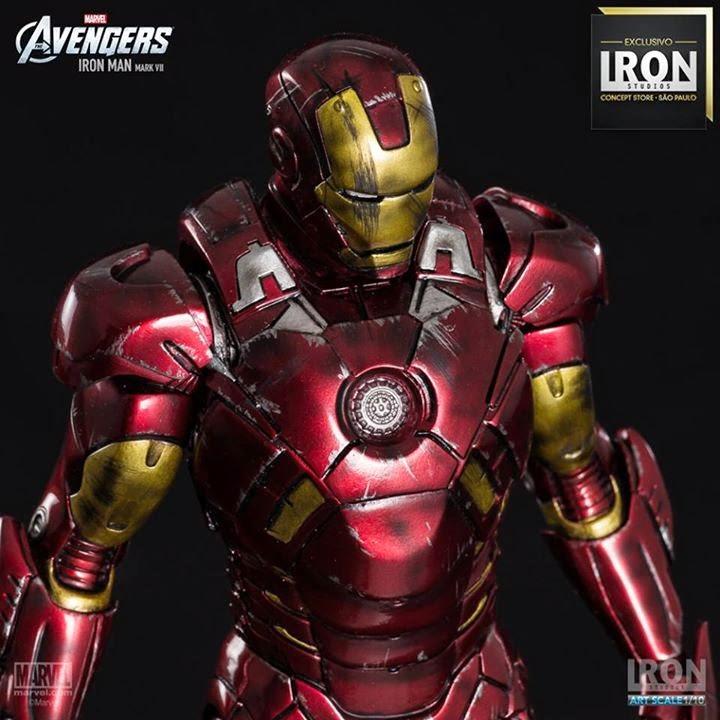 Estátua Homem de Ferro Mark VII Battle Damage