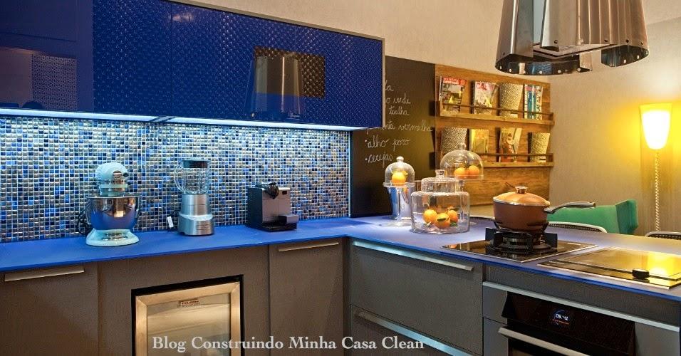 Construindo Minha Casa Clean Cozinhas Decoradas com Azul! Maravilhosas!!! # Armario De Cozinha Planejado Azul