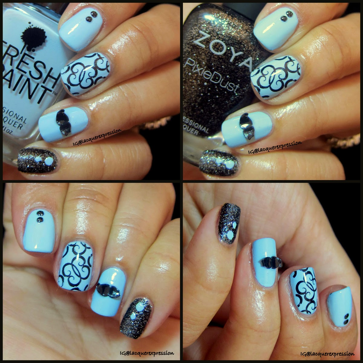Movember mustache nail art using Bonna Blue by Fresh Paint and Dahlia by Zoya