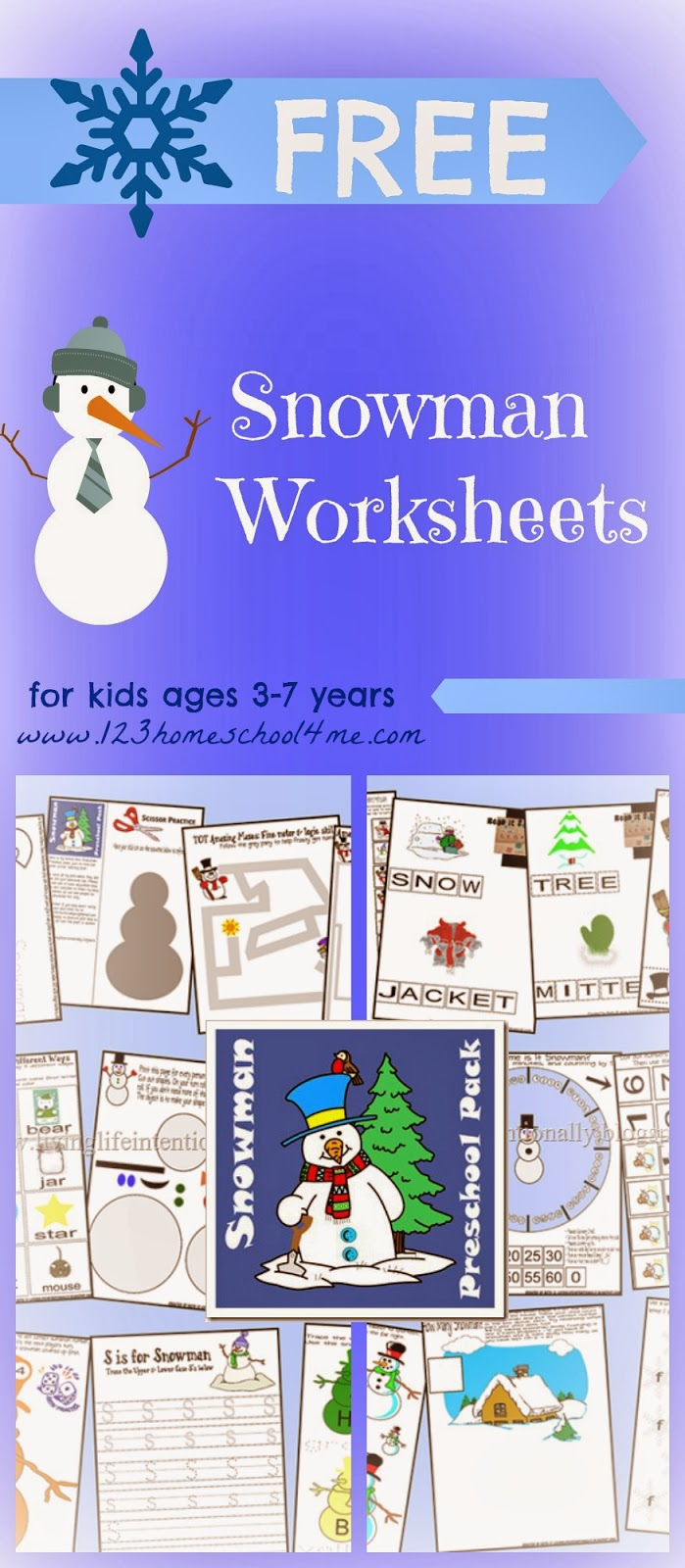 ... snowman worksheets for toddler, preschool, kindergarten, and 1st grade