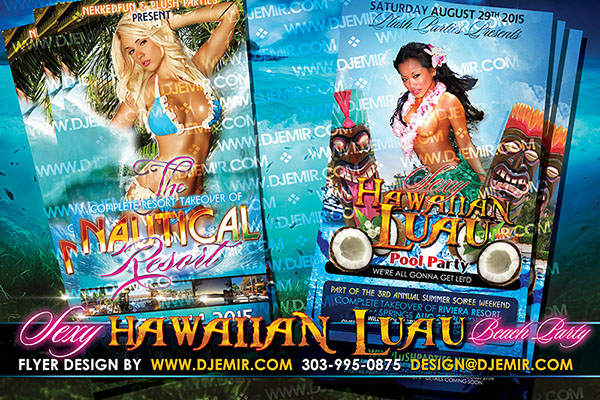 Sexy Hawaiian Luau Beach Party and Nautical resort Beach Party Flyer Designs