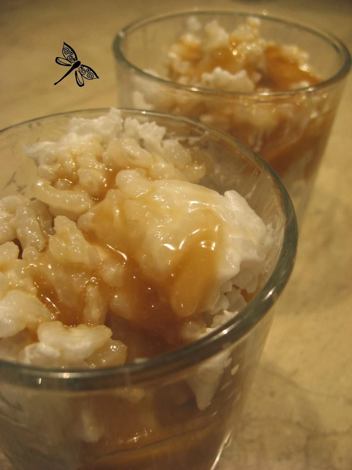 Libellule et ses spatules riz au lait de coco et sa sauce caramel - Riz lait de coco ...