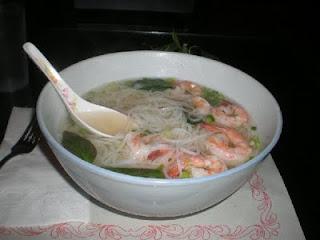 soupe, phô, Vietnam, crevettes, nouilles au riz, cuillère