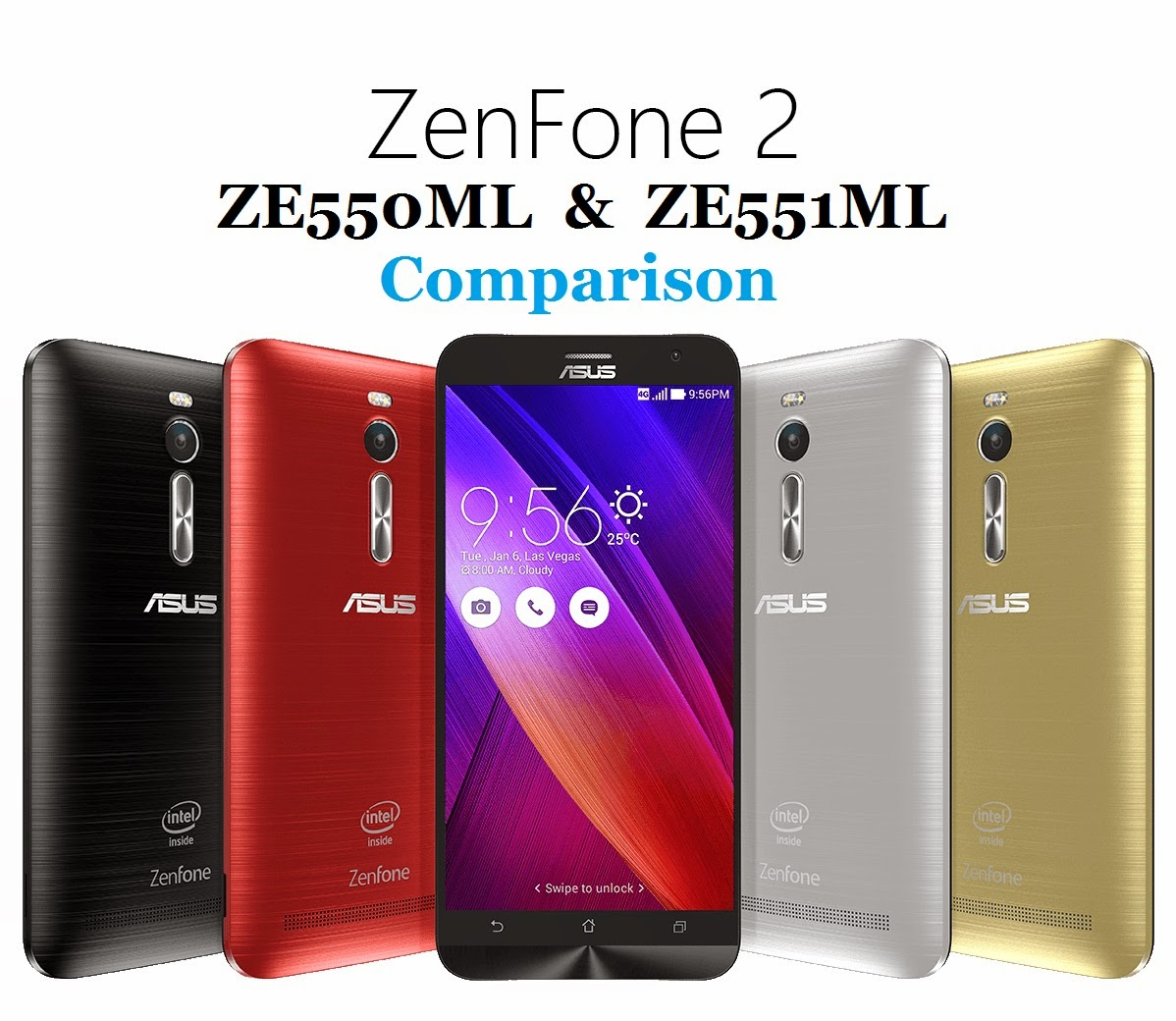 specs comparison of zenfone2 ze551ml and ze550ml specification, color, ram, storage, android 5.0 lollipop os compare