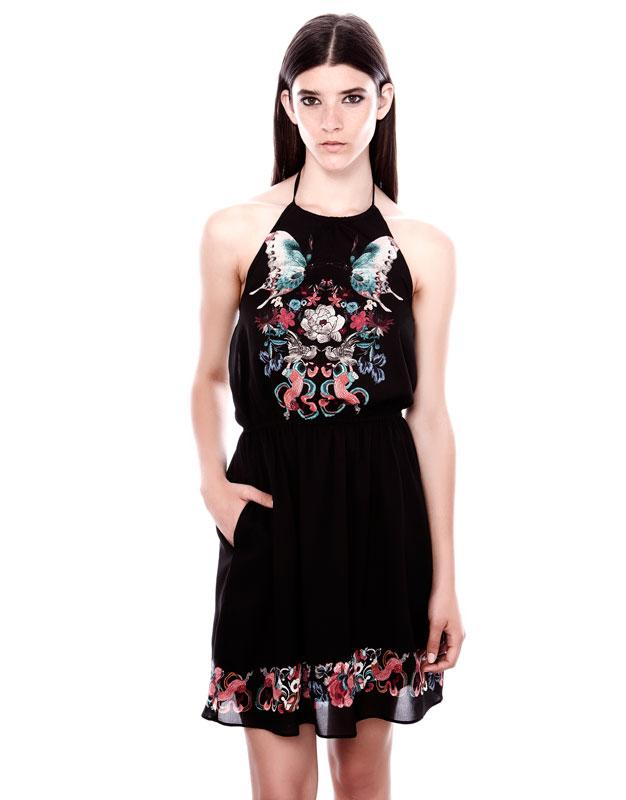 çiçek desenli bol kesim mini siyah elbise gece elbisesi