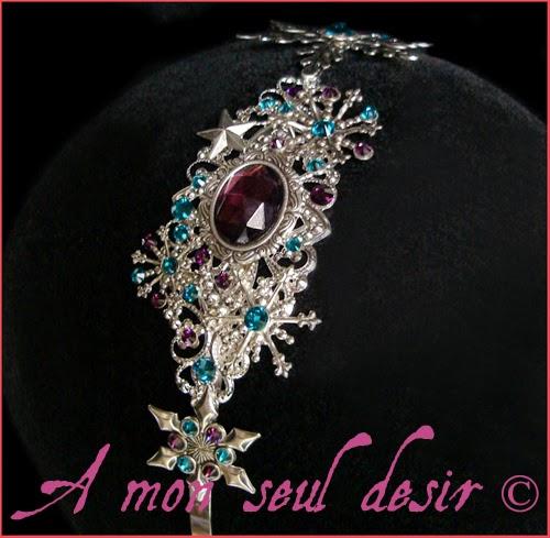 Serre-tête flocon de neige hiver cheveux turquoise violet améthyste snow headband purple headdress Frozen Elsa Magic Winter Fantasia