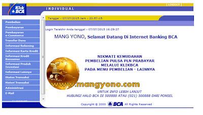 MANG YONO, Selamat datang di internet Banking BCA