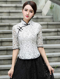 2018 Half Sleeve Lace Cheongsam Top