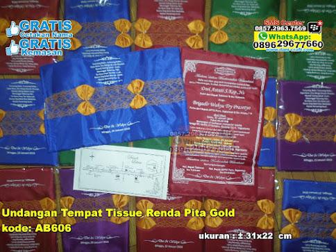 Undangan Tempat Tissue Renda Pita Gold jual