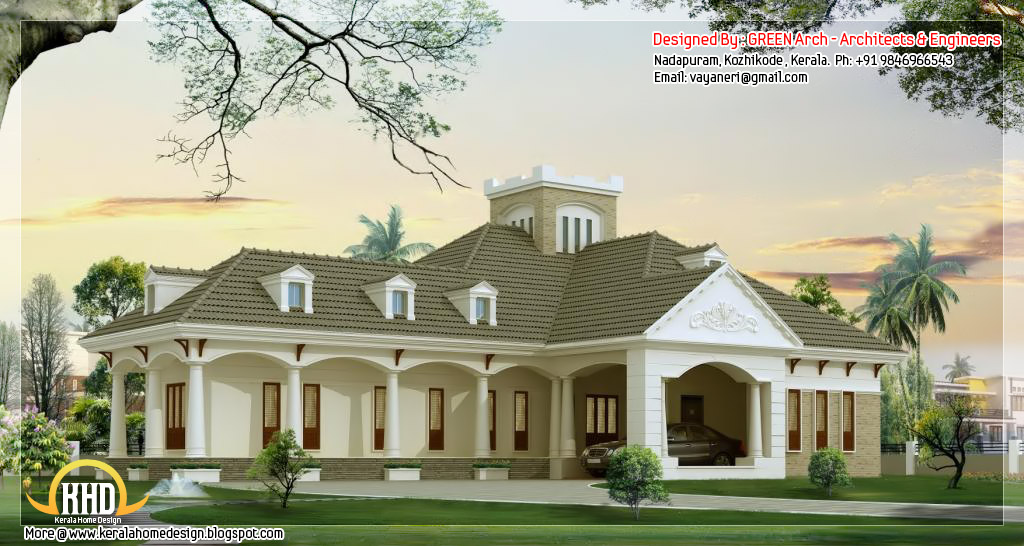 3 bedroom single floor home design kerala house design idea for Single story luxury house plans