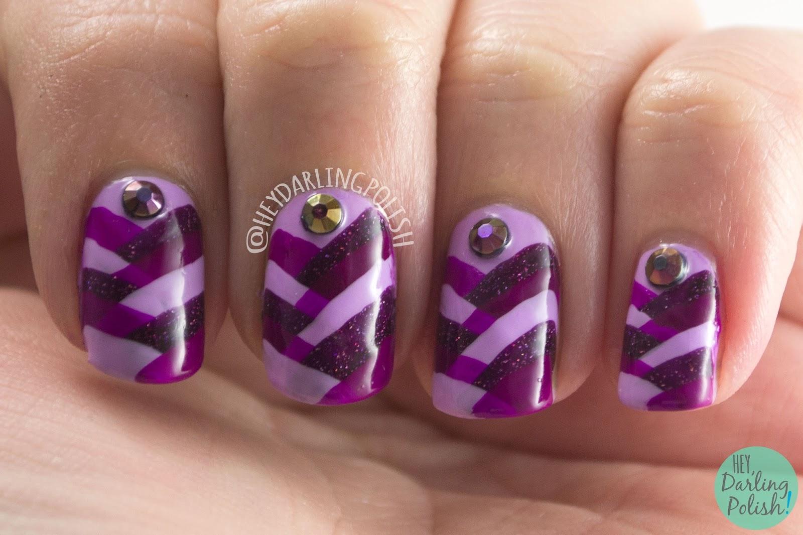 nails, nail art, nail polish, fish tail, purple, hey darling polish, rhinestones, monochrome, 2015 cnt 31 day challenge