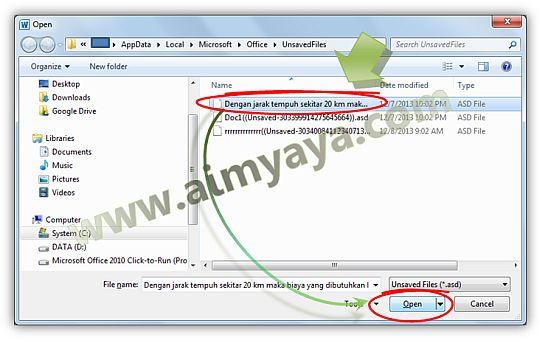 Gambar: Memilih dokumen ms word  yang belum di save