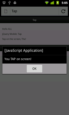 Detect Tap event in jQuery Mobile