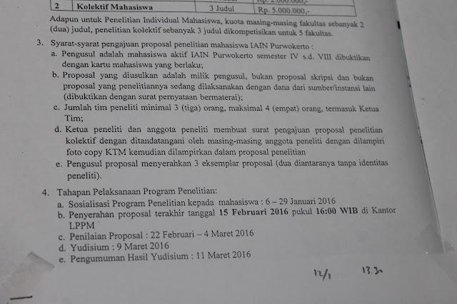 pengumuman penelitian mahasiswa IAIN Purwokerto, surat edaran penelitian mahasiswa IAIN Purwokerto 2016, penelitian DIPA 2016 IAIN Purwokerto, penelitian DIPA 2016