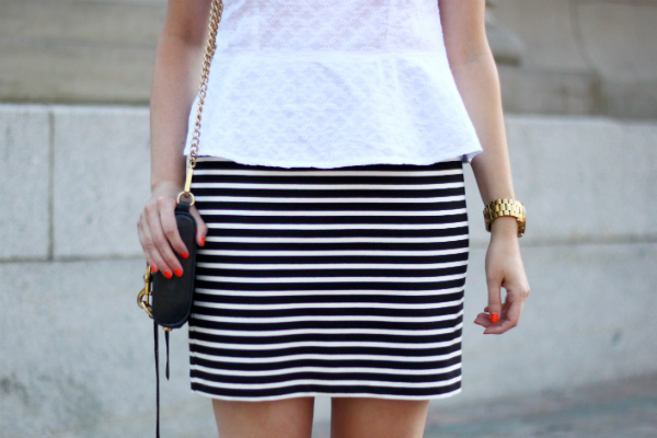 smart set, jacob, white peplum, black and white striped skirt, orange nail polish