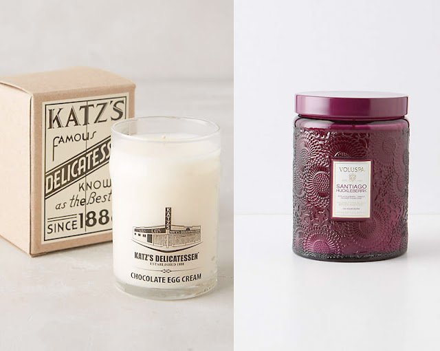 Katz's Delicatessen Chocolate Egg Cream Candle, Voluspa Santiago Huckleberry Candle, Anthropologie, birthday wishlist, gift list