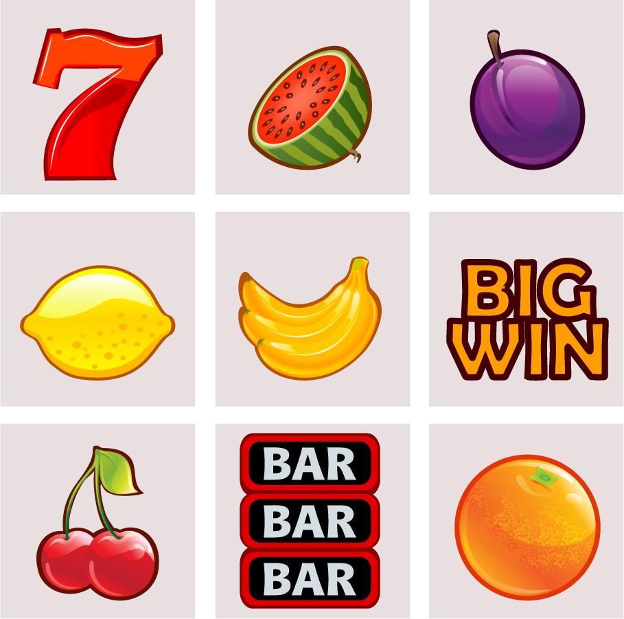 スロットマシーンの絵柄アイコン Slot Machine Icons イラスト素材