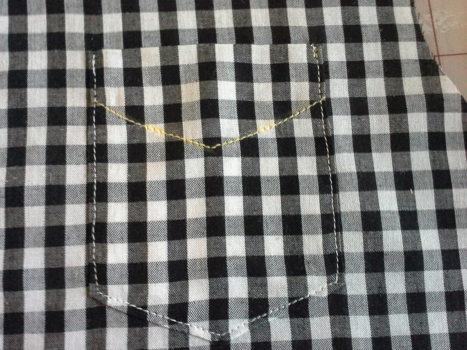 stitched pocket match to gingham