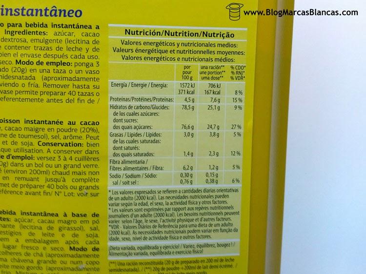 Información nutricional del cacao instantáneo (tipo Nesquik) DIA.