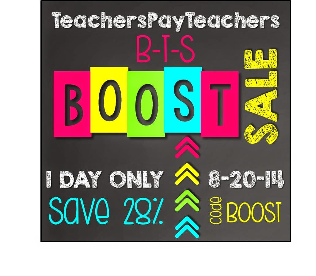 TpT Back to School BOOST Sale 20th AUG 2014