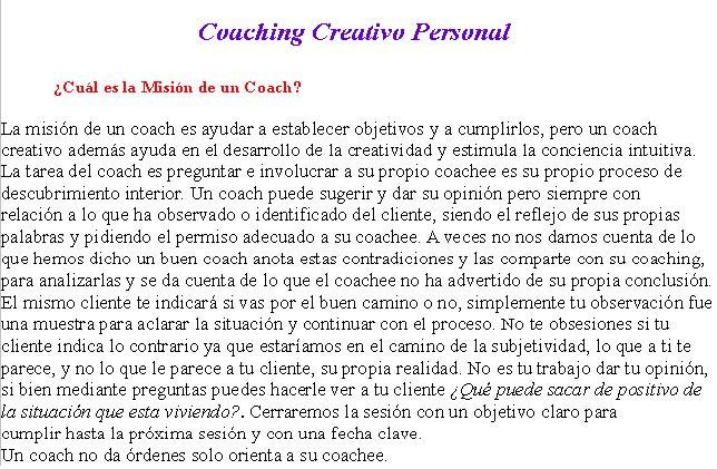 Curso Online de Coaching Creativo y Personal