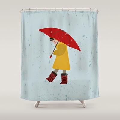 cortina ducha niña lloviendo