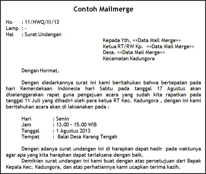 Mailmerge Di Gabung Dengan EXCEL