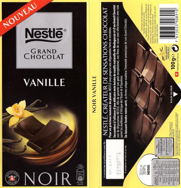 tablette de chocolat noir gourmand nestlé grand chocolat vanille