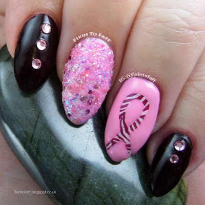 Pink zebra nail art in support of NET Cancer Awareness Day.