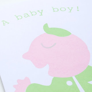 Baby boy screen printed card by welaughindoors close up